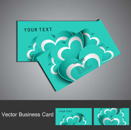 Creative blue colorful heart business card set vector Stock Vector - 17679618
