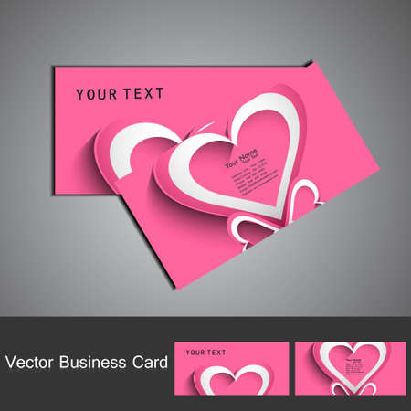 Shiny pink colorful heart business card set design Stock Vector - 17679625