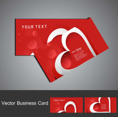 Business card set red colorful heart stylish background vector Stock Vector - 17679612