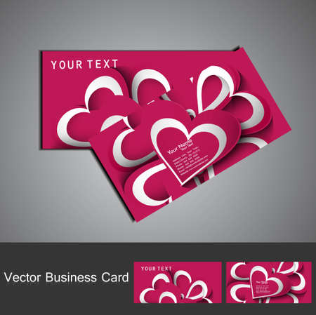 Business card set colorful heart stylish background illustration Stock Vector - 17679644