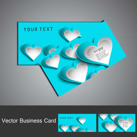 Fantastic Valentine's Day blue colorful heart business card set illustration Stock Vector - 17679595