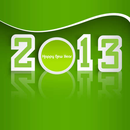 Happy new year stylish 2013 reflection green colorful background vector Stock Vector - 17679635