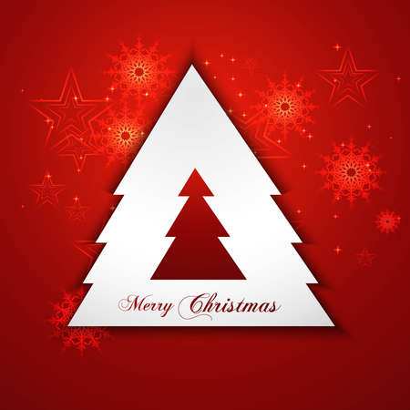 Merry christmas stylish shiny tree colorful red background illustration Stock Vector - 17679628