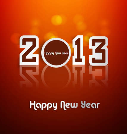 Happy new year stylish 2013 reflection colorful background  Stock Vector - 17679611