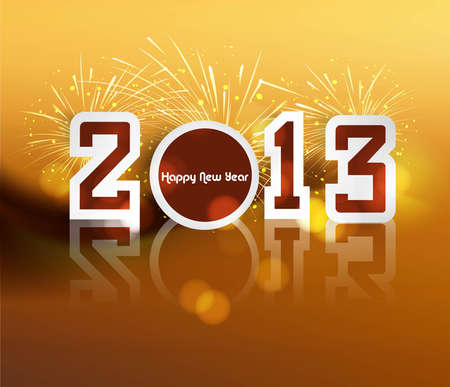 Happy new year 2013 reflection colorful celebration vector  Stock Vector - 17679632