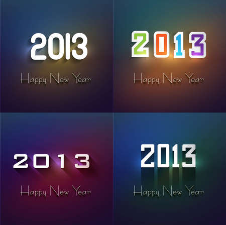 twenty thirteen: 2013 Happy New Year card collection set colorful vector background