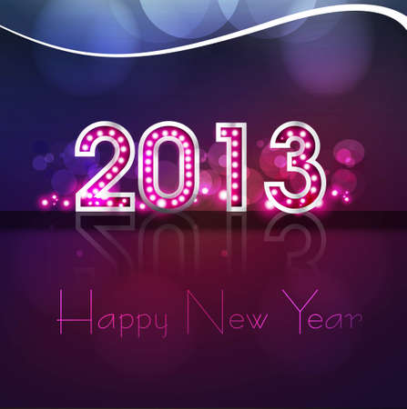 Happy new year 2013 reflection colorful background Stock Vector - 17679631