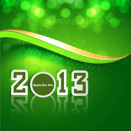 New year shiny reflection 2013 bright green wave colorful background  Illustration