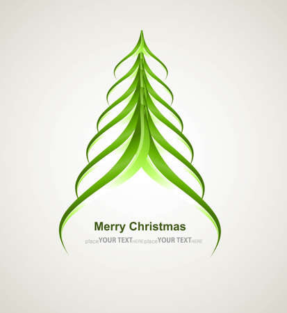 whit: merry christmas stylish green tree colorful whit background