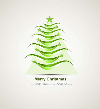 merry christmas stylish green tree colorful whit background Stock Vector - 17789330