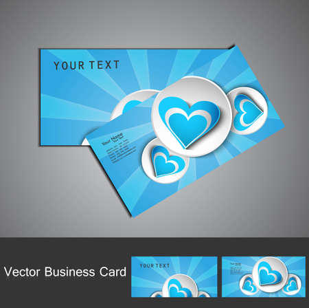 Creative blue colorful heart business card set design illustration Stock Vector - 17789457