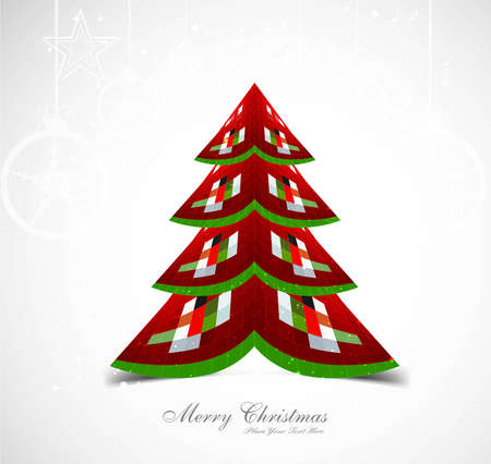 whit: merry christmas stylish tree colorful whit background