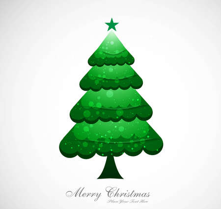 merry christmas green tree colorful whit background  Vector