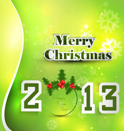New year stylish 2013 merry christmas background green colorful card  Stock Vector - 17789862