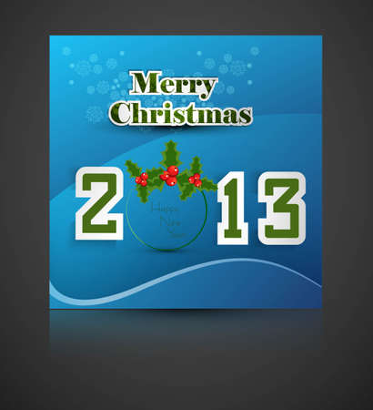 New year stylish 2013 merry christmas font blue colorful card  Vector