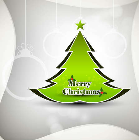 whit: Merry Christmas green tree whit background card  Illustration