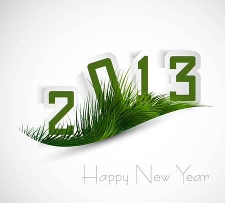 Green grass wave stylish 2013 whit background Stock Vector - 17789853