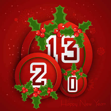 Happy new year 2013 circle red colorful celebration background Illustration