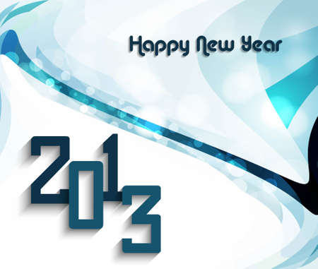 Happy new year 2013 colorful mosaic wave circle design Vector