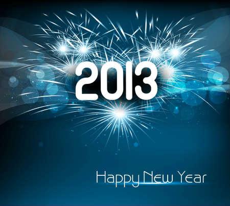 해피 뉴 2013 년 푸른 화려한 축하 배경