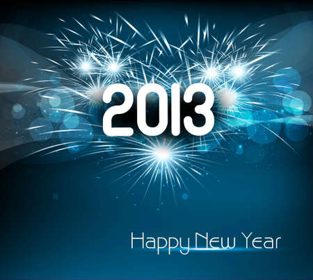 Happy new year 2013 blue colorful celebration background Vector