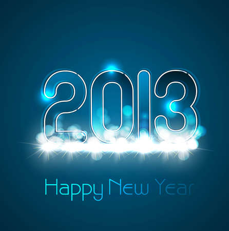 Happy new year glossy 2013 blue colorful background Stock Vector - 17790330