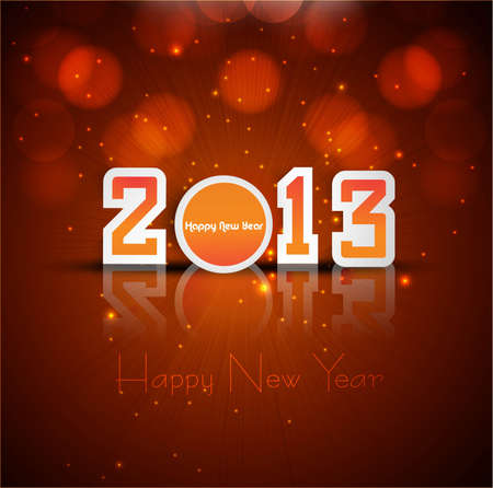 2013 new year reflection celebration colorful card background Stock Vector - 17789780