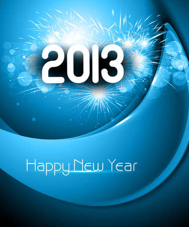 Happy new year 2013 blue colorful background Vector