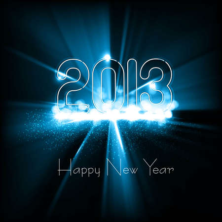 New year 2013 background for shiny swirl blue wave colorful design Stock Vector - 17790791