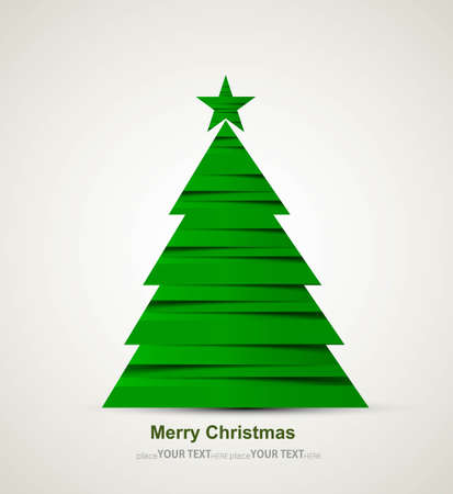 merry christmas stylish green tree colorful whit background  Vector