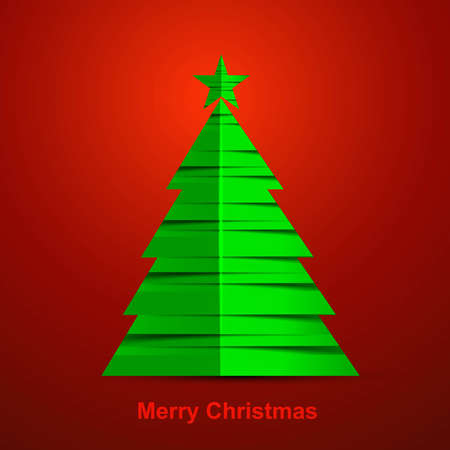 merry christmas stylish green tree colorful red background Stock Vector - 17790334