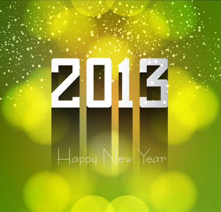 Happy new year 2013 colorful green background  Stock Vector - 17790238