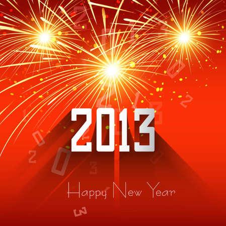 Happy new year shiny 2013 colorful celebration background illustration