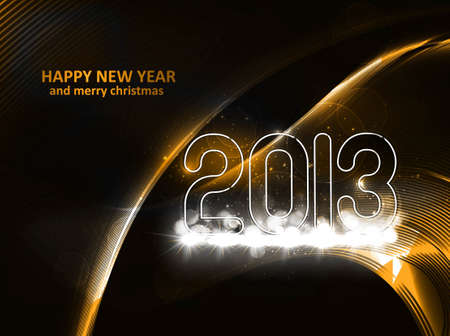 New year 2013 background for shiny wave colorful illustration Stock Vector - 17790799