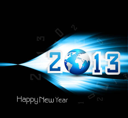 2013 happy new year celebration and business presentations bright blue colorful wave  Vector