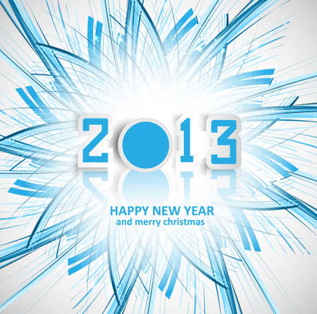 New year 2013 reflection for swirl blue wave creative colorful  Vector
