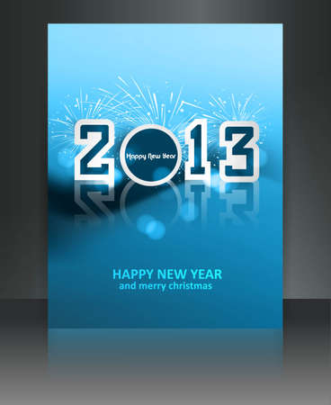 2013 new year celebration blue colorful brochure gift card design Stock Vector - 17791420