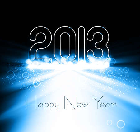 New year 2013 background for shiny swirl blue colorful wave design Vector