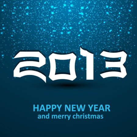 twenty thirteen: Happy new year shiny 2013 colorful blue celebration dotted design Illustration