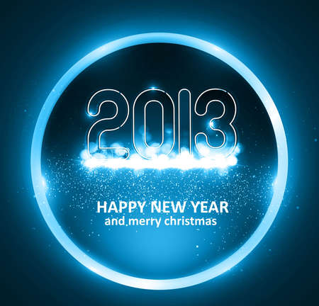 Happy new year 2013 circle blue colorful celebration background illustration Stock Vector - 17791659