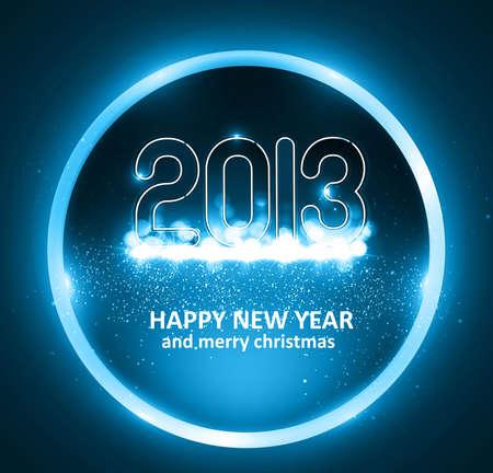 Happy new year 2013 circle blue colorful celebration background illustration Stock Vector - 17791659