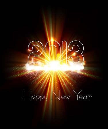 twenty thirteen: New year 2013 background for shiny swirl rainbow wave design