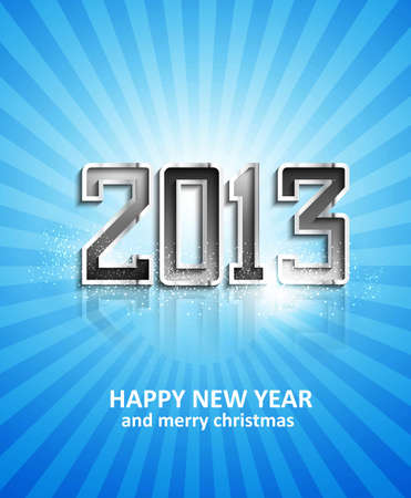 illustration of New Year 2013 metal reflection blue colorful holiday vector