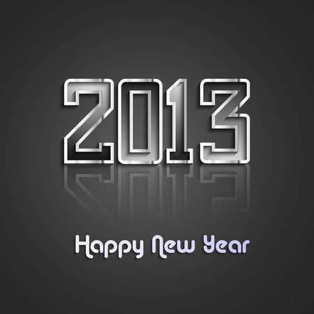 new year 2013 reflection metal background Vector
