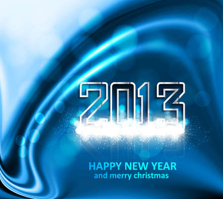 New Year celebration 2013 blue colorful wave vector illustration Stock Vector - 17945512
