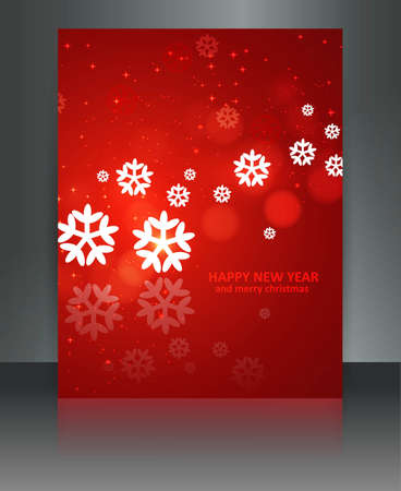 Merry christmas red brochure celebration bright colorful card  Stock Vector - 17945709
