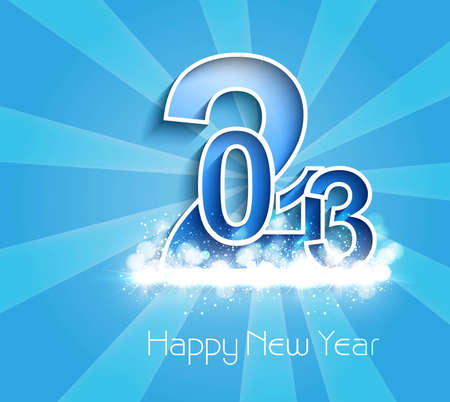 New year stylish 2013 blue bright colorful background vector Stock Vector - 17945722