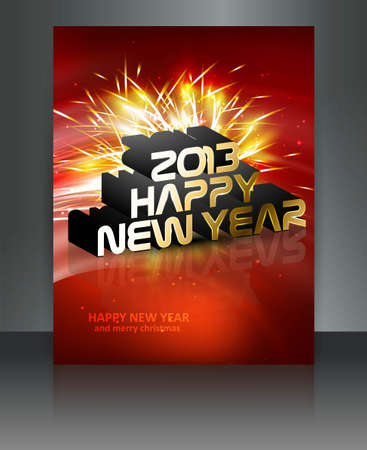 2013 new year celebration red brochure reflection colorful design Stock Vector - 17945714