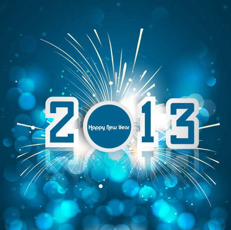 Happy new year 2013 celebration greeting card blue colorful background vector Stock Vector - 17945707