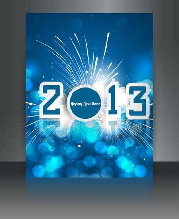 twenty thirteen: 2013 new year celebration blue colorful brochure card